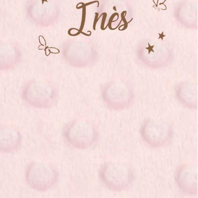 Couverture personnalisée minky rose et taupe