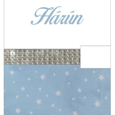 Protège carnet suédine blanche coton étoilé bleu ciel