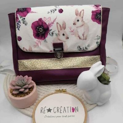 Cartable simili coton fille prune lapin