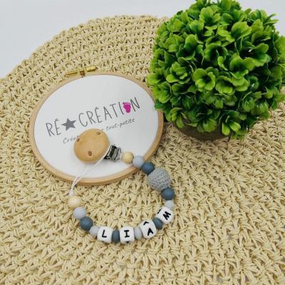 Attache tétine silicone , crochet et bois grise