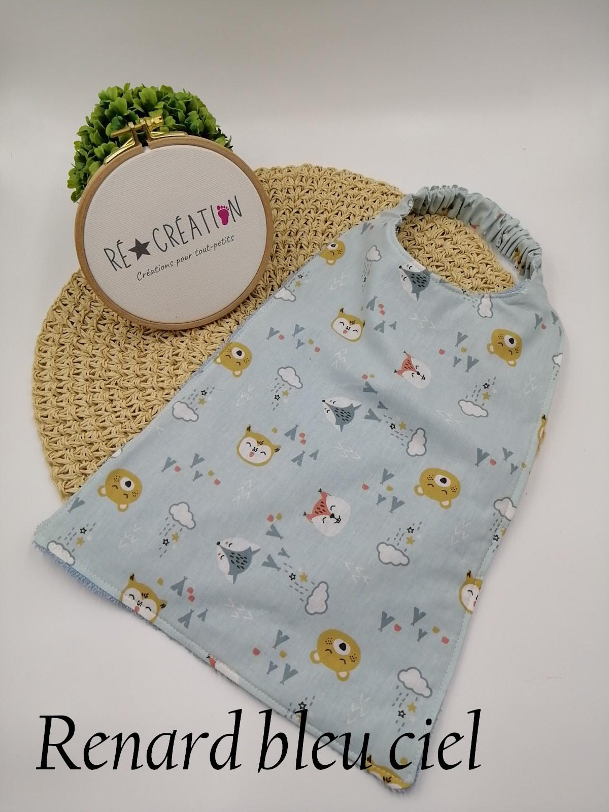 Bavoir serviette maternelle bleu ciel renard 1
