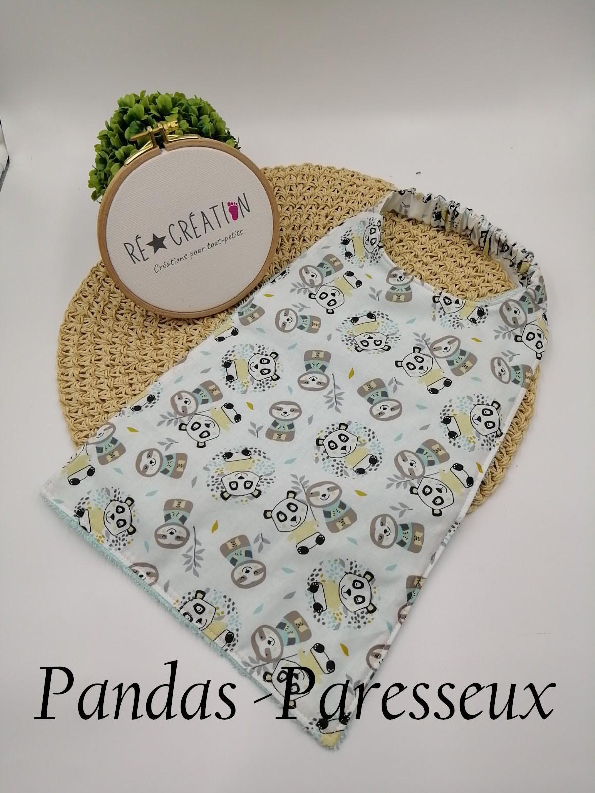 Bavoir serviette maternelle panda paresseux vertd eau 1