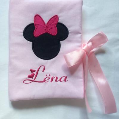Protège carnet coton rose souris noeud