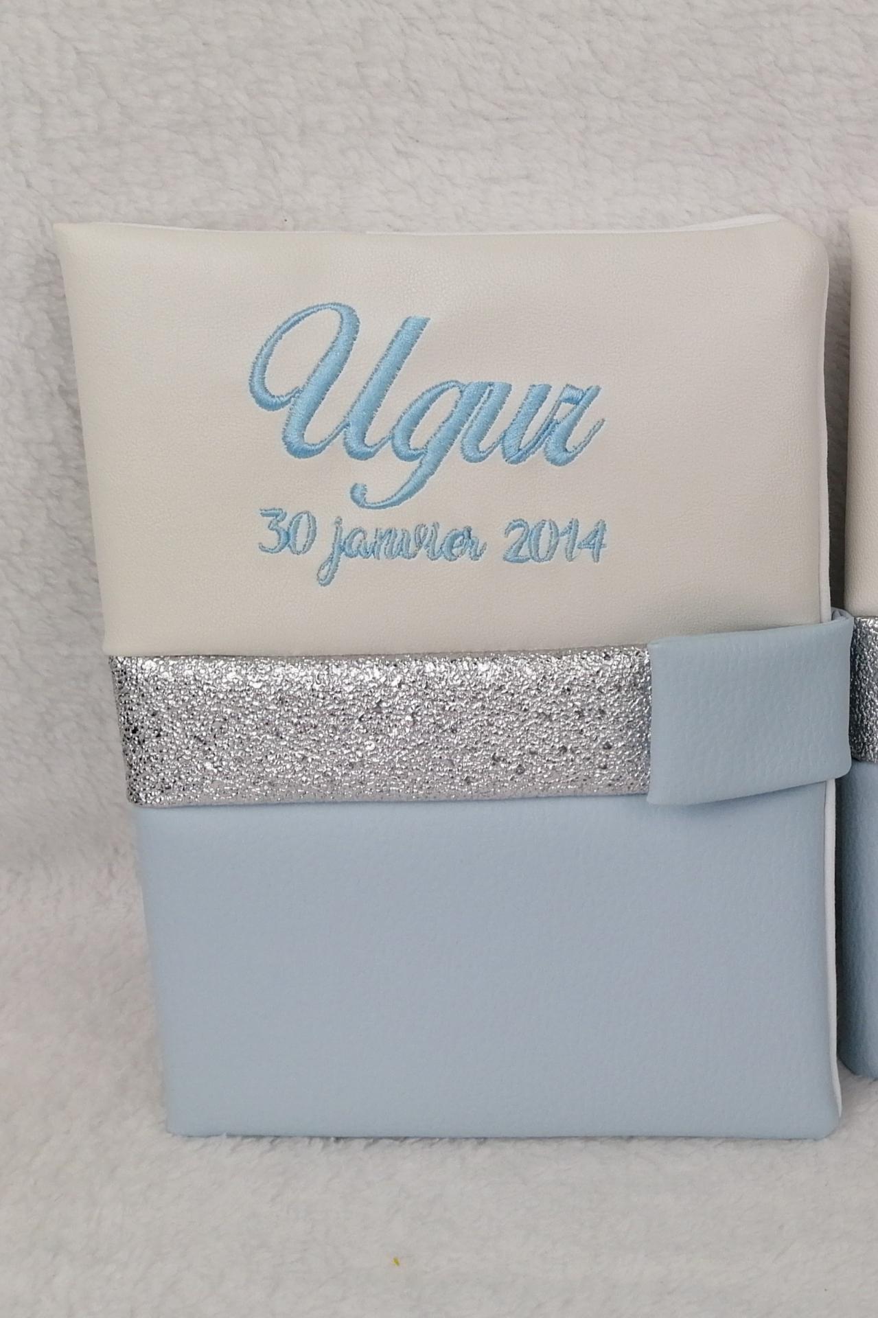 Carnet sante personnalise simili blanc bleu ciel argent