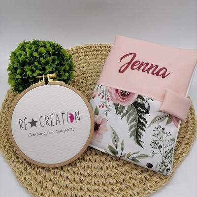 Protège carnet simili et coton floral