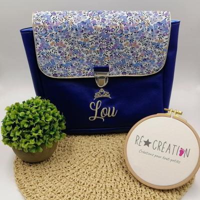 Cartable simili bleu roy coton miosotis bleu