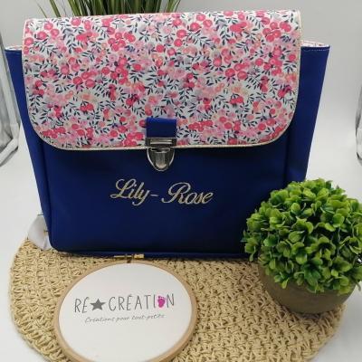Cartable simili bleu roy coton miosotis rose