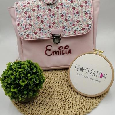 Cartable simili rose clair coton menthe lilas