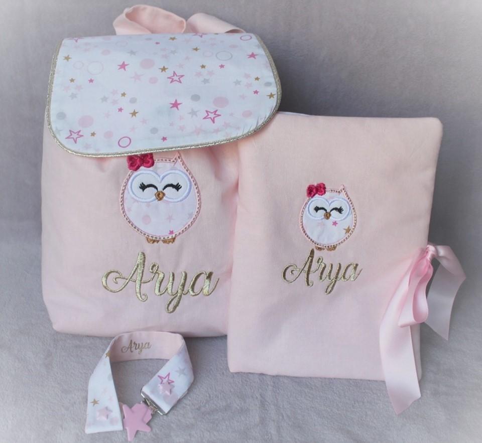 Coffret naissance sac coton etoile carnet attache tetine etoile