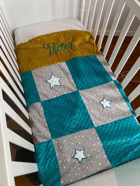 Couverture patchwork gris etoile bleu emeraude moutarde
