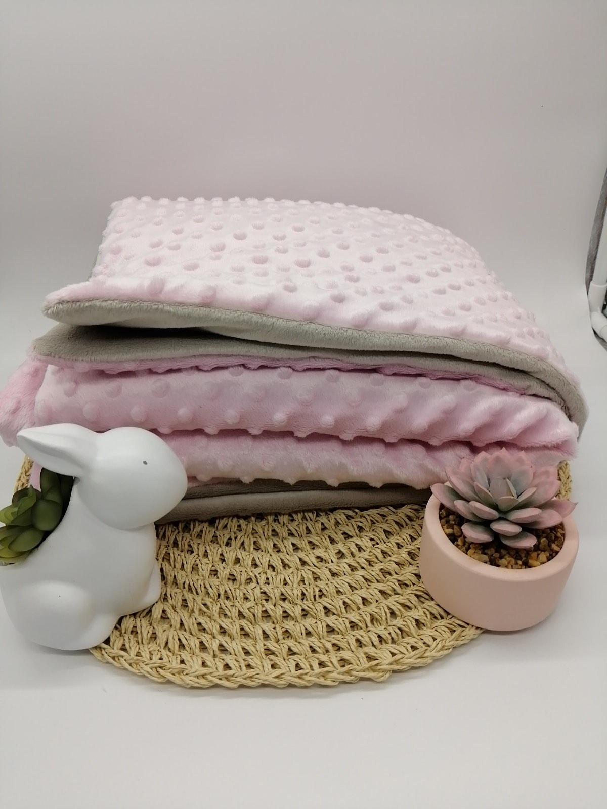 Couverture personnalise minky rose taupe1