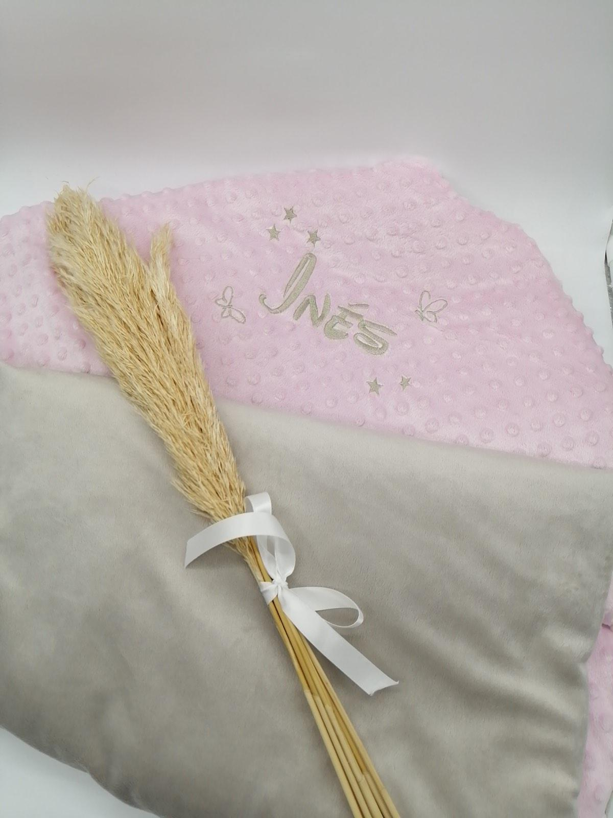 Couverture personnalise minky rose taupe3