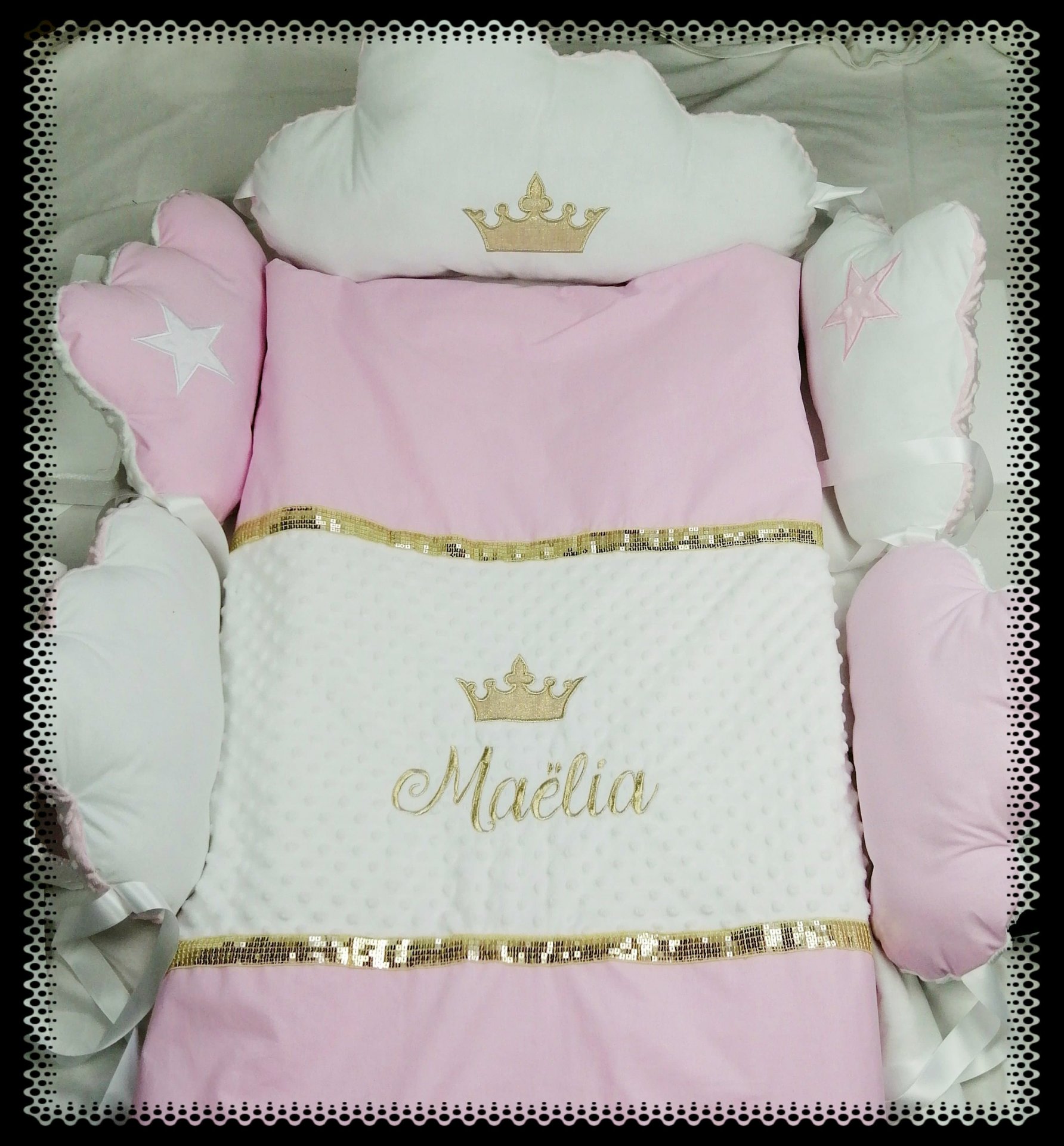 Couverture personnalise rose or