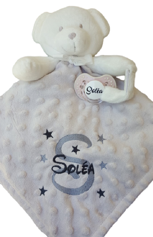 Doudou ourson taupe initiale