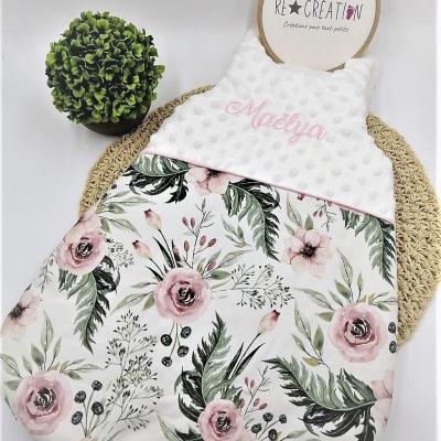 Gigoteuse bébé fille polaire et liberty floral grande rose