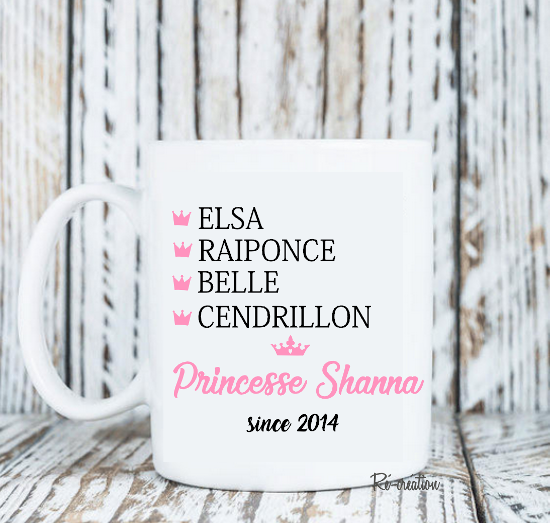 Mug personnalise princesse