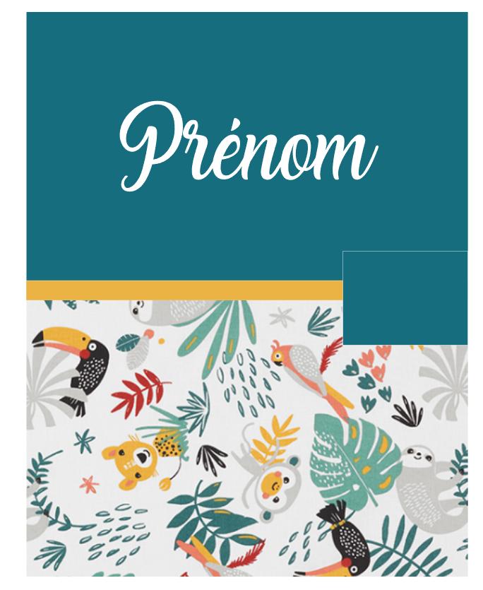 Protege carnet de sante bleu canard jungle