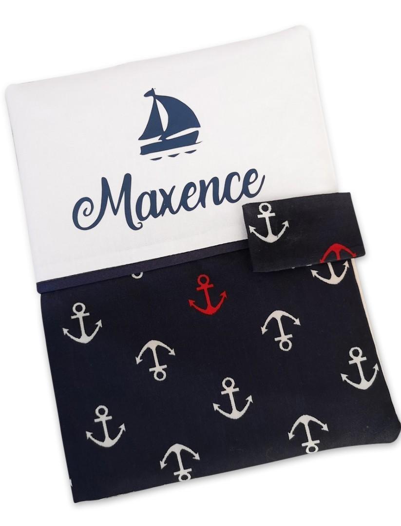 Protege carnet de sante coton ancre bleu marine blanc