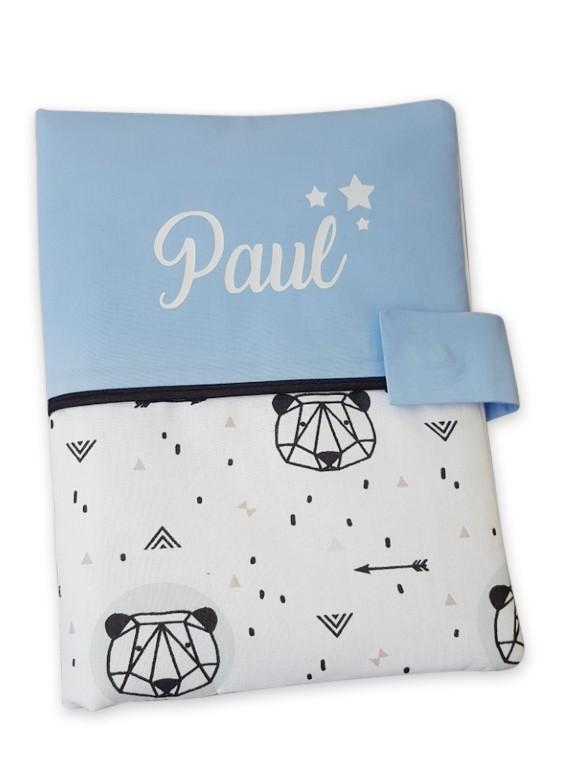 Protege carnet de sante coton panda origami bleu ciel
