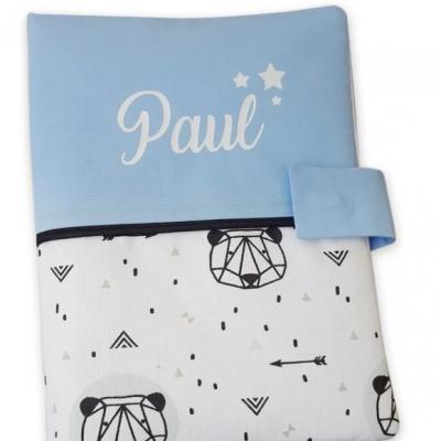 Protège carnet bleu ciel  panda origami