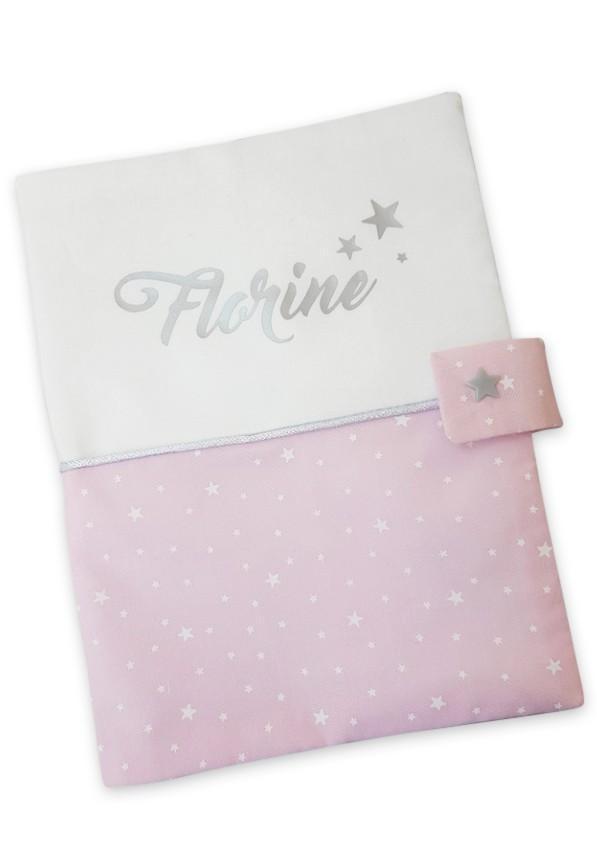 Protege carnet de sante suedine rose etoile
