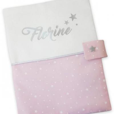 Protège carnet  suedine blanc rose étoiles
