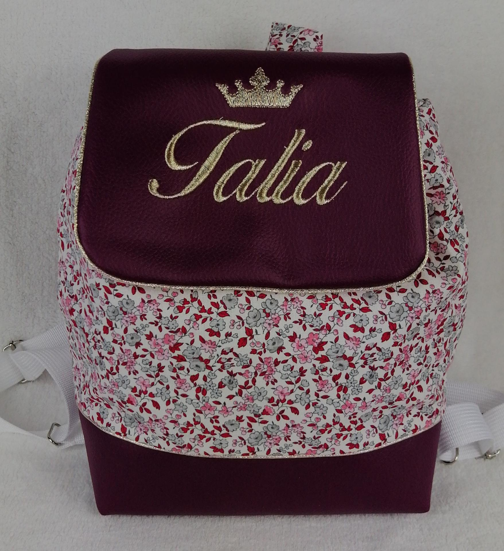 Sac a dos personnalise prune liberty rouge gris