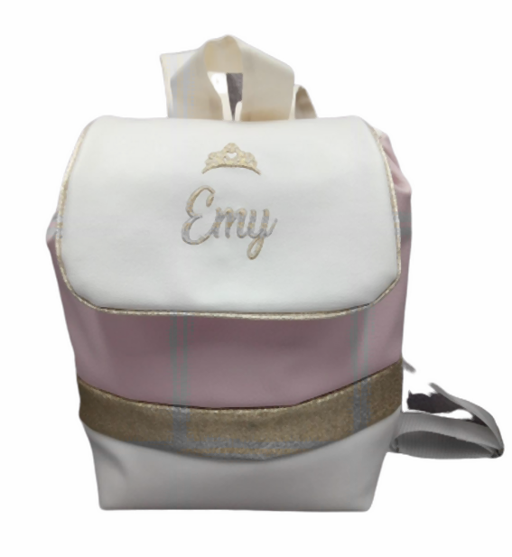 Sac a dos personnalise simili blanc rose or