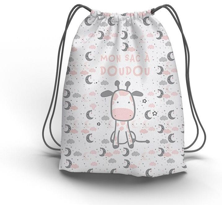 Sac a doudou coulissant motif baby rose