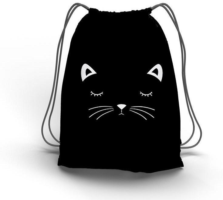 Sac a doudou coulissant motif chat noir