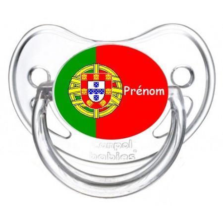 Sucette personnalisee drapeau portugal et prenom