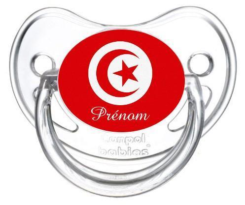 Sucette personnalisee drapeau tunisie et prenom