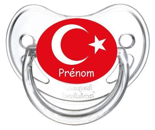 Sucette personnalisee drapeau turquie et prenom
