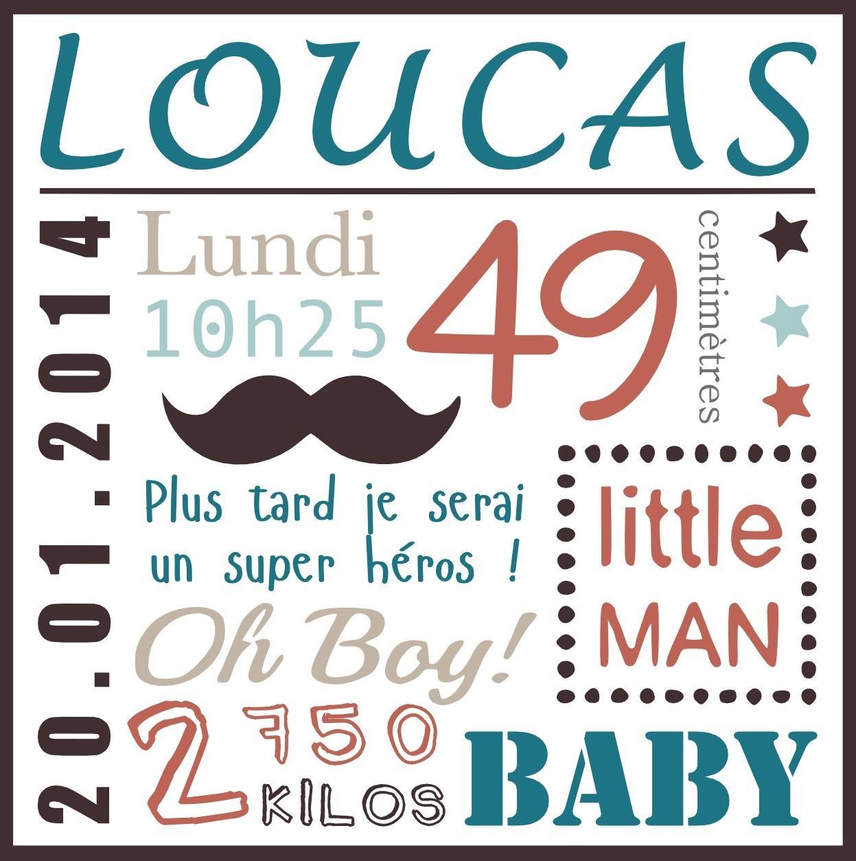 Toile naissance moustache