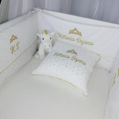 Tour de lit blanc - double gaze or